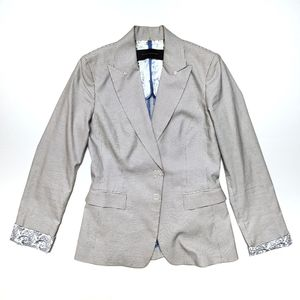 Elie Taharie checkered blazer suit jacket sz 6